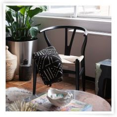 Wishbone Y Back Dining Chair with Natural Hemp Seat - Black Wood