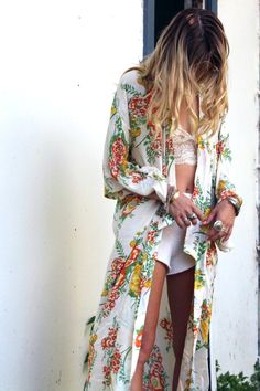 Long boho chic maxi kimono in floral pattern for a modern hippie look. For the BEST Bohemian fashion trends FOLLOW http://www.pinterest.com/happygolicky/the-best-boho-chic-fashion-bohemian-jewelry-gypsy-/ now.