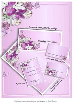 This is a nice way to make your very own wedding invitations. Designed to print out your invitation yourself, and you can flip over and print the back on the same card, or use a nice coloured divider.  You can also use the main sheet for the order of service, or menu, There is a place name card, that has ( Thank you for joining us today. ) so it acts as a thank you as well. Has a RSVP to send with the invitation, with a accept and decline on it, it can be decorated in so many ways, my photo…