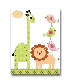 Kids wall art Kids Room Decor kids wall decor baby art nursery birds nursery lion kids bird print kids giraffe kids lion green rose To return to my shop, click here: http://www.etsy.com/shop/artbynataera *** UNFRAMED - THIS PRINT IS ON PAPER , OR ON CANVAS , OR ON STICKER PAPER ***