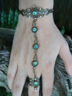 Swarovski slave bracelet turquoise hand chain hand flower slave ring bohemian Renaissance victorian moon goddess pagan boho gypsy style