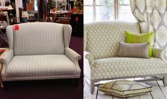 Before & After: Vintage furniture upholstery ideas. Textile Tuesday: Vintage Furniture Transformations
