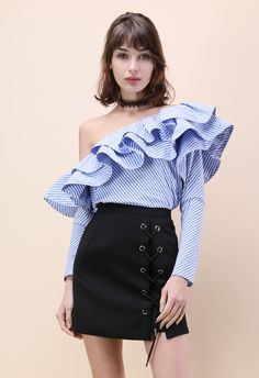 Swanky One-shoulder Ruffle Striped Top - New Arrivals - Retro, Indie and Unique Fashion