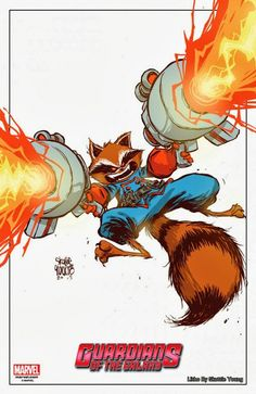 New York Comic Con 2013 Exclusive Rocket Raccoon Lithograph by Skottie Young Print