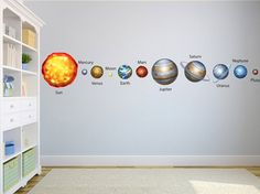Items similar to Solar System Planets Wall Decals Graphic Vinyl Sticker Bedroom Living Room School Classroom Wall Home Decor on Etsy Monogram Wall Decals, Custom Wall Decals, Name Wall Decals, Classroom Walls, School Classroom, Solar System Planets, Kids Room, Living Room, Large Format