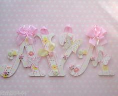 Bedroom Bunting, Applied Materials, Name Letters, Embroidery Bracelets, Laura Ashley, Wooden Walls, Girl Names, Main Colors, Butterflies