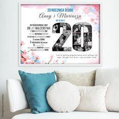 Plakat na rocznicę ślubu ze zdjęciami - różowy z kwiatami Most Beautiful Pictures, Kindergarten, Crafts For Kids, Photoshop, Day, Frame, Poster, Crafts For Children, Picture Frame