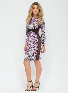 Work Of Art Painted Floral Bodycon Dress PURPLE - GoJane.com