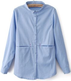 Blusa collar botones manga larga-Azul EUR€16.58