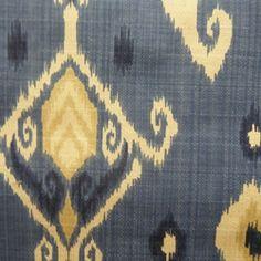 Carey #30 Blue Ikat Drapery Fabric