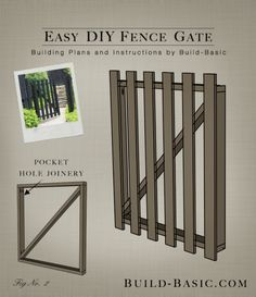 Build an Easy DIY Fence Gate Building Plans by Build Basic www.c Build an Easy DIY Fence Pallet Fence, Diy Fence, Backyard Fences, Fence Ideas, Gate Ideas, Fence Art, Fence Landscaping, Garden Fencing, Building A Gate