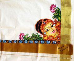 Anjali Vilasini: Mohini hand painting on kerala set mundu