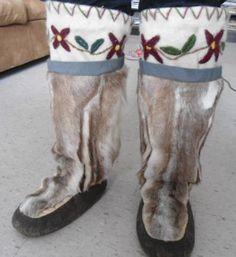 Inuit made women's caribou & sealskin kamiks by Emjay Ekwalak