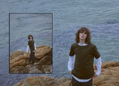 LEVARN 18 Spring Editorial - Use of similar backgrounds which take up the majority of the photo, the use of the blue ocean connects w the smaller photos ocean, that's why the two photos flow well Portrait Photography Men, Fashion Photography, Sketchbook Layout, Relaxing Art, Photo Layouts, Creative Portraits, Poses, Photo Reference, Aesthetic Photo