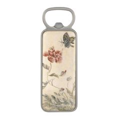 Vintage Bee, Butterfly and Poppy Watercolor Magnetic Bottle Opener