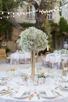 A Fairytale Wedding at Château De Robernier in Provence - Tall Wedding Centerpieces - Wedding Table Tall Wedding Centerpieces, Wedding Table Centerpieces, Wedding Flower Arrangements, Flower Centerpieces, Reception Decorations, Centerpiece Ideas, Reception Ideas, Floral Arrangements, Floral Wedding