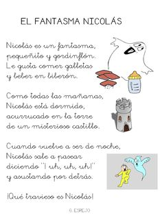 Poesía el fantasma Nicolás. Language Activities, Reading Activities, Speech And Language, Spanish Language, Language Arts, Supernanny, Bilingual Education, Reading Workshop, Halloween Activities