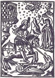 Abril. Día 23  Sant Jordi, patró de Catalunya.  .../...  sant JordiSant Jordi cavaller i martir, és I'heroi d'una gran gesta cavalleresca, que la veu popular universal situa a les terres allunyades i llegendàries de la Capadòcia, però que la tradició catalana creu esdevinguda als voltants de la vila de Montblanc.