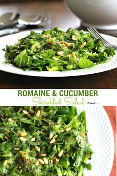 Mediterranean Shredded Romaine and Cucumber Salad- full of herbs like dill, mint and parsley it's super flavorful and easy to whip up for lunch or for a weeknight dinner. It's gluten free, vegan and delicious!