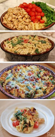 chicken-spinach-tomato-pasta bake recipe - this was really good, but did have a lot of pasta which we try to stay away from, but supper yummy Baked Pasta Recipes, Chicken Recipes, Cooking Recipes, Healthy Recipes, I Love Food, Good Food, Yummy Food, Tomato Pasta Bake, Spinach Pasta