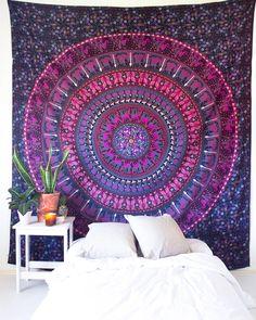 Magenta Kaleidoscope Mandala Tapestry – The Bohemian Shop Bohemian Fabric, Bohemian Room, Bohemian Tapestry, Bohemian House, Mandala Tapestry, Magenta Bedrooms, Magenta Walls, Tapestry Bedroom, Tapestry Wall Hanging