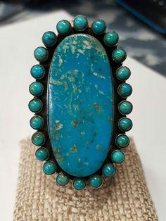Huge Southwestern DAN DODSON Sterling Silver TURQUOISE Oval Snake Eye Ring  | eBay