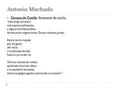 ''Amanecer de otoño'' es un poema que forma parte del libro ''Campos de Castilla'' que fue publicado en 1912.  Y hemos elegido este poema porque, al igual que en la mayoría de los poemas de Machado en éste libro, describe muy bien el paisaje y nos da curiosidad cuando es capaz hasta de describir el estado de la tierra al final de poema.