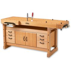 Learn Woodworking A woodworking workbench with both a front and an end vise. Includes ideas and designs for a garage workbench, dog holes, vises, portable and how to build DIY workbenches. Wood Top Workbench, Workbench Plans, Woodworking Workbench, Woodworking Furniture, Garage Workbench, Woodworking Equipment, Craftsman Workbench, Workbench Stool, Workbench Designs