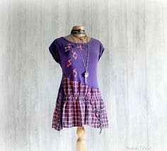 Purple Boho Shirt Upcycled Recycled Art by BrokenGhostClothing
