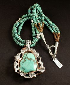 Green Variscite, Sterling Silver & Copper Wrapped Pendant with 3 Strands of Turquoise Rondelles, Agate Rounds, Copper Heishi and Sterling