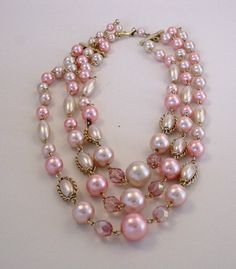 Pink & Ivory Pearl Vintage Necklace VN0009 by GlobalBrights