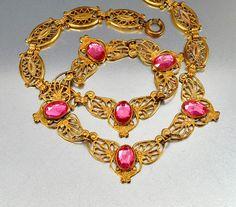 Gold Filigree Pink Vauxhall Glass Art Deco Necklace Czech Glass Art Deco Jewelry Wedding Jewelry