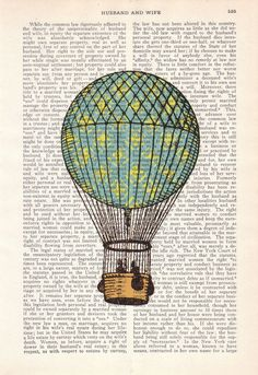 Vintage Book Print Dictionary or Encyclopedia Page Print by PRRINT, $6.99... love hot air balloon prints