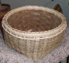 A double wall seagrass basket with fancy rim lashing. A class with Anne Bowers in Branson, MO.