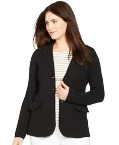 A sweater blazer would be a good option. It has structure but stretch, which is helpful when it comes to sleeves.
