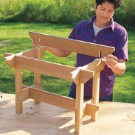 How to Make a Hypertufa Table Mark Powers places the stretchers over the notches of the hypertufa table crosspieces Woodworking Furniture, Woodworking Shop, Woodworking Plans, Woodworking Projects, Woodworking Skills, Woodworking Magazine, Popular Woodworking, Woodworking Videos, Furniture Projects