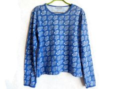 MARIMEKKO Blue Floral Top Long Sleeves Top Women's Clothing Blue White Cotton Top Marimekko Shirt XL Size Top Comfortable Clothing by…