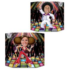 """Highlights: - 1 side male dancer; other side female dancer; prtd 2 sides w/different designs - 3' 1"""" x 25"""" - (1/Pkg) - packages per case: 6 Details: Stand this Disco Couple Photo Prop up for your next 70's party and snap the photo that will last a lifetime! 1 side male dancer; other side female dancer; printed 2 sides with different designs. You get one case of 6 units for this price. Size: 3' 1'' x 25''"""