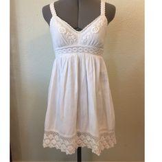 O'Neill White Sun Dress with Lacy Crochet Detail O'Neill White Sun Dress with Lacy Crochet Detail. Adjustable Straps. 100% Cotton. EUC O'Neill Dresses Mini