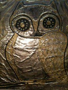 Thanks for the inspiration pinterest.  Foil, Glue, Metallic paint.  owl 2-2012 L. Scheel