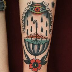 tattoo old school / traditional ink - eye rain