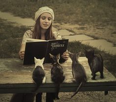 Reading Puss in Boots (KoT B Canorax) to the little ones I Love Cats, Cute Cats, Funny Cats, Funny Animals, Cute Animals, Crazy Cat Lady, Crazy Cats, Tier Fotos, Cat People