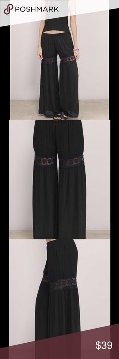 BLACK GAUCHO PANTS Black Gaucho pants with a beautiful inlay of embroiderd  lace around the upper parts of the leg. . The pants are rayon with a polyester lining in the upper pant so no colors peek through, they have a very light elastic waist, the inseam is 30.5 inches (measured in small),  the Front rise is 9.5 inches, The back rise is 12.5 inches.Dress  PRICE FIRM🎀🎀 Boutique Pants Wide Leg
