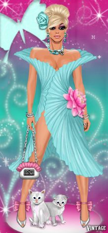 Making waves in a 2013 top trend, Diva Chix member, glitterdarla is hitting the runway in waves. Donning a waterlily inspired dress with soft accessories, this lovely diva has us anticipating a very fashionable spring!