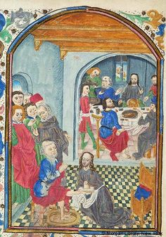 Book of Hours, MS H.2 fol. 91v - 1) Christ: Washing of Feet -- In foreground, Peter, with hands joined and raised, is seated on stool, his left foot in basin of water. 2) Christ: Last Supper -- In background, through arch, Christ, holding loaf (?) with right hand and raising left hand