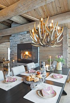 Beautiful stone fireplace and antler chandelier in this cabin style home. Cabin Style Homes, Log Cabin Homes, Log Home Interiors, Rustic Interiors, Cosy Interior, Home Interior Design, Mountain House Decor, Dream House Plans, Living Room Inspiration