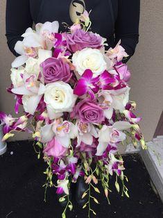 WEDDING FLOWERS ARTIFICIAL YELLOW ORANGE HOT PINK LIME BRIDE BOUQUET BEARGRASS