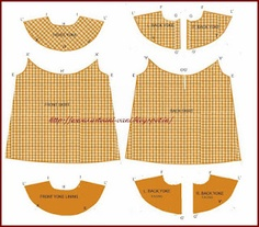 Method of stitching A line frock with round yoke.