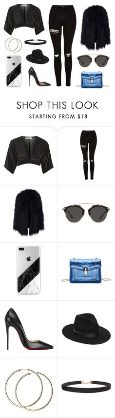 """""""Untitled #2057"""" by fashion-lover-00 ❤ liked on Polyvore featuring Topshop, Christian Dior, Bulgari, Christian Louboutin, Lack of Color and Humble Chic"""