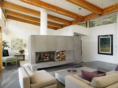 Solus Concrete tiled fireplace cladding a double sided fp by Solus Decor, via Flickr